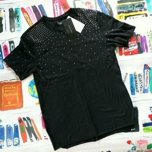 NWT Zara Man Silver Stud Black Cotton T Shirt M
